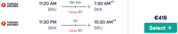 Full service flights from Brussels to Bangkok, Bali, and more SE Asia destinations from €416rtn!