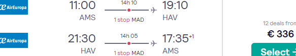 Cheap flights from Brussels or Amsterdam to Havana, Cuba from €336!