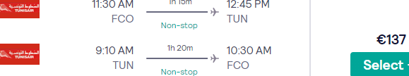 Full-service non-stop flights from main airports in Italy to Tunis, Tunisia from €137!