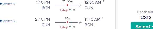 Aeromexico: Fly from Barcelona to Cancún for €313 or non-stop to Mexico City for €385!
