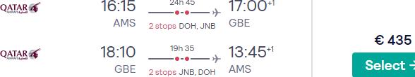 5* Qatar Airways flights from Amsterdam to Botswana for €435 return!