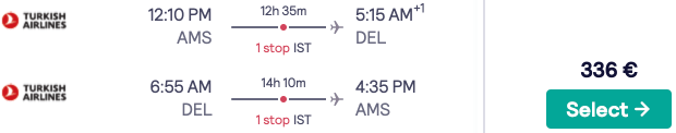 Cheap full-service flights from Amsterdam to India with 30kg luggage for €336 return!