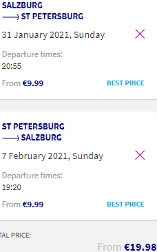 Low-cost flights from Salzburg, Austria to St. Petersburg, Russia for €20