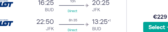 Non-stop flights from Budapest to New York from €233!