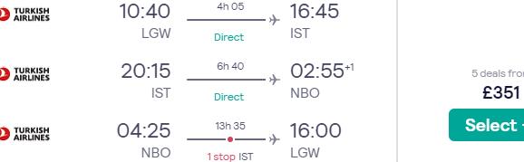 Multi-city flights from London to Istanbul and Kenya (Nairobi, Mombasa) from £351!