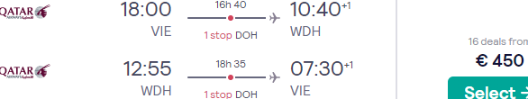 Qatar Airways flights from Vienna to Windhoek, Namibia from €450!