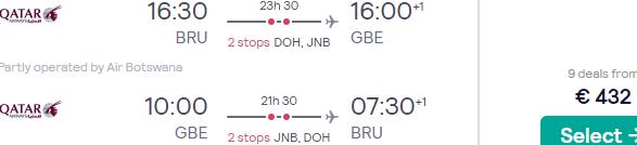 Qatar Airways flights from Brussels to Gaborone, Botswana from €432!