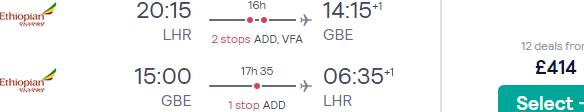 Return flights from London to Gaborone, Botswana from £414!