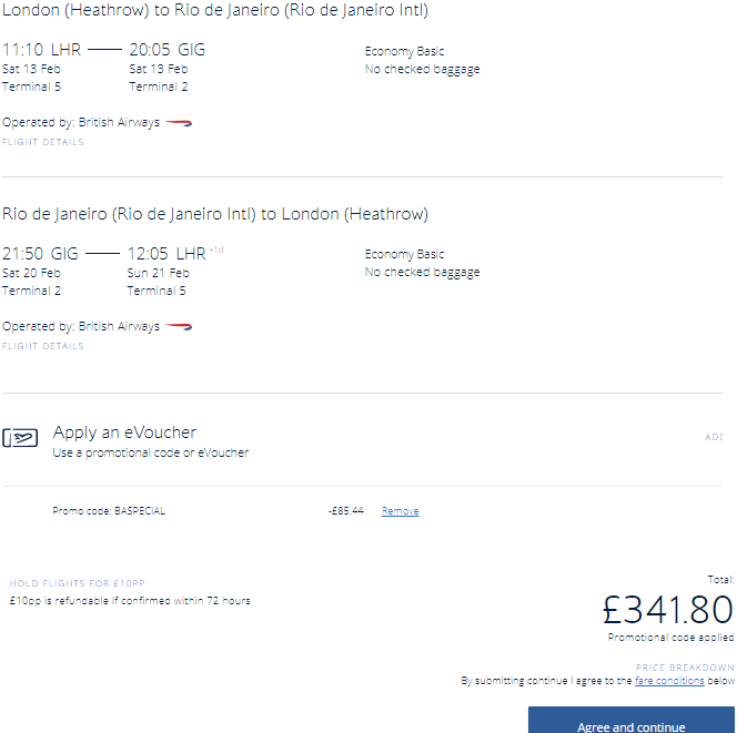 Cheap non-stop British Airways London flights to Rio de Janeiro, Brazil for £342!