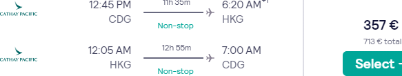 5* Cathay Pacific non-stop flights from Paris to Hong Kong for just €357!