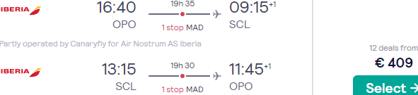 Cheap Iberia flights from Portugal to Santiago de Chile from €409!
