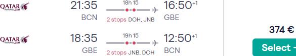 5* Qatar Airways flights from Spain to Gaborone, Botswana from €374!