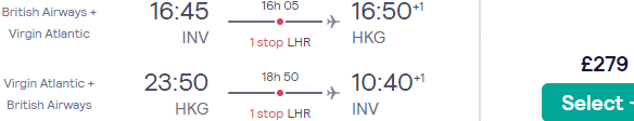 Full-service return flights to Hong Kong from Inverness just for £279! Non-stop from London for £333!