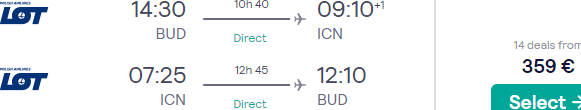 Cheap non-stop flights from Budapest to Seoul, South Korea from €340!