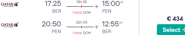 Qatar Airways flights from Berlin to Penang, Malaysia from €434!