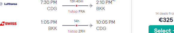 Lufthansa group airlines flights to Bangkok, Thailand from France from €325!