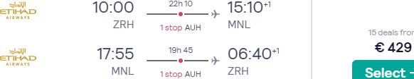 Etihad flights from Zurich to Manila, Philippines from €429!