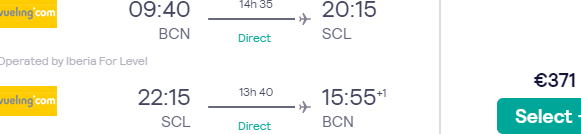 Cheap non-stop flights from Barcelona to Santiago de Chile from €371!