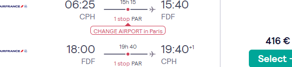 Air France flights from Scandinavia to Martinique or Guadeloupe from €416!
