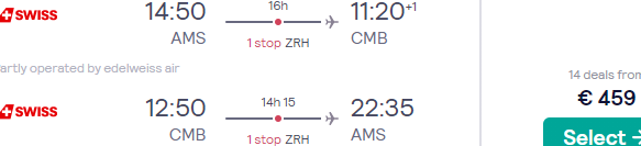 Full-service SWISS flights from Amsterdam to Colombo, Sri Lanka for €448!