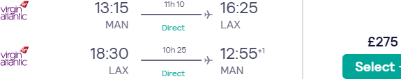 Non-stop return flights from Manchester to Los Angeles for £275!