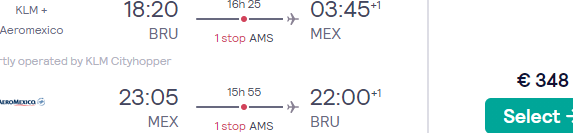 SkyTeam Full-service flights from Brussels to Mexico City for €348!