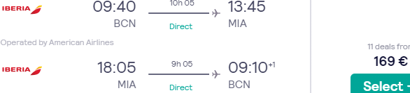 Non-stop flights from Madrid or Barcelona to Miami, Florida from €169!
