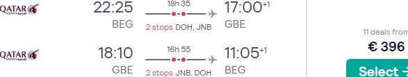 Qatar Airways return flights from Belgrade to Gaborone, Botswana for just €396!