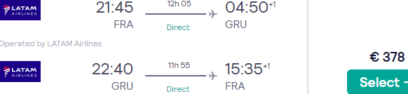 Non-stop flights from Frankfurt to Sao Paulo, Brazil for €378 (Economy) or €1195 (Business Class)!