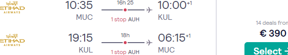Etihad flights from Munich, Germany to Kuala Lumpur, Malaysia from €410...