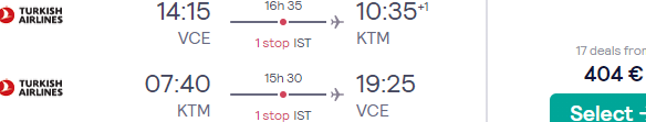 Return flights from main airports in Italy to Kathmandu, Nepal from €406!