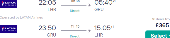 Non-stop flights from London to Sao Paulo, Brazil for £365!