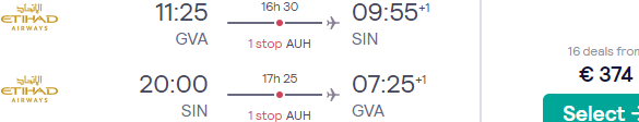 Cheap full-service flights from Geneva to Singapore with 4* Etihad for €364!