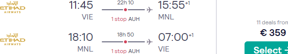 Full-service flights from Vienna to Manila, Philippines from just €359 return!