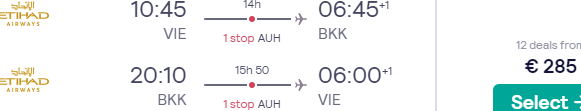 4* Etihad flights from Vienna to South East Asia from just €285 return!
