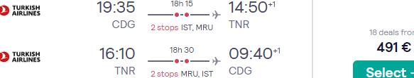 Return flights from Paris to Antananarivo, Madagascar for €491!