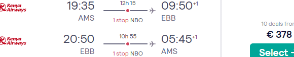 Full-service flights from Amsterdam to Entebbe, Uganda for €383!