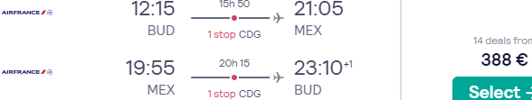 Air France-KLM return flights from Budapest to Mexico City from €388!