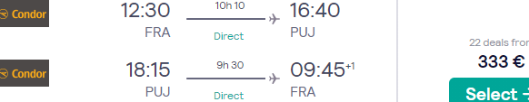 Non-stop flights from Frankfurt to Punta Cana, Dominican Republic for €333!