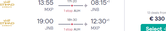 Etihad full-service flights from Italy to Johannesburg, South Africa for €367!