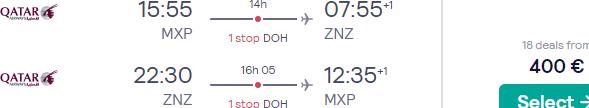 Qatar Airways high season flights from Italy to Zanzibar, Tanzania for €400!