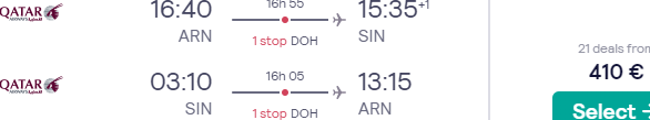 Qatar Airways return flights from Stockholm to Singapore for €410!