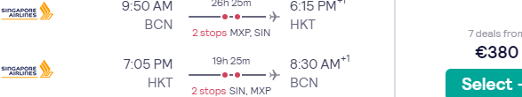 Full-service Singapore Airlines flights from Barcelona to Bangkok for €417!