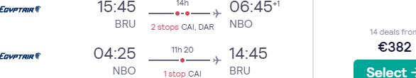 Return flights from Brussels to Nairobi, Kenya for €382!