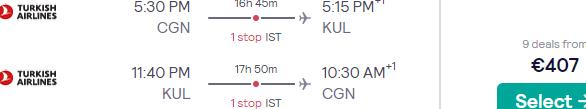 Full-service return flights from Germany to Kuala Lumpur, Malaysia for €410!