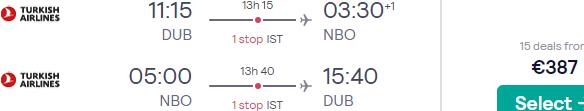 Full-service return flights from Dublin to Nairobi, Kenya for €387!