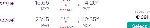 5* Qatar Airways flights from Italy to China (Shanghai, Beijing, Chongqing, Guangzhou, Hangzhou) from €391!
