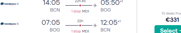 Cheap return flights from Barcelona to Bogotá, Colombia for €331!