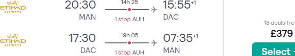 Etihad flights from Manchester, UK to Dhaka, Bangladesh for £379 return!