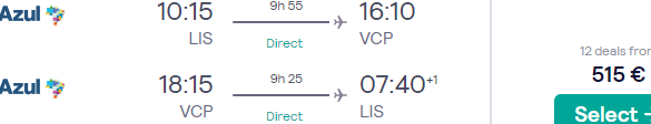 Business Class return flights from Lisbon to Sao Paulo, Brazil for just €515!